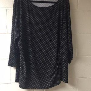 Talbots 3 X blouse black and white